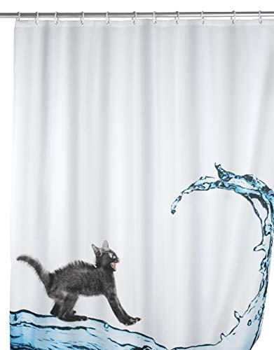 WENKO Anti-Schimmel Duschvorhang Cat, Duschvorhang mit Antischimmel Effekt fürs Badezimmer, inkl. Ringen zur Befestigung an der Duschstange, waschbar, 100% Polyester, 180 x 200 cm, mehrfarbig
