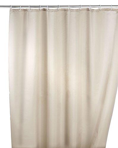 Wenko 20045100 Anti-Schimmel Duschvorhang Uni Beige - Anti-Bakteriell, waschbar, mit 12 Duschvorhangringen, Polyester, 200 x 180 cm