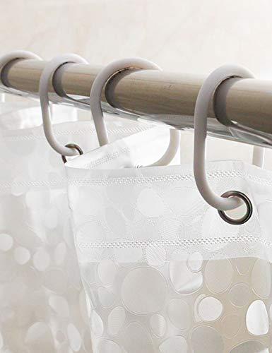 FJTXC Wasserdichter Duschvorhang, Duschvorhänge Wasserdichter, transparenter Duschvorhang Dickere Kieseldekoration Ultra Wide Waschraumvorhänge, Formfester ausziehbarer Duschvorhang,180 * 220 cm