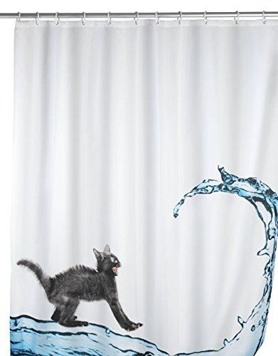 WENKO 20052100 Anti-Schimmel Duschvorhang Cat - Anti-Bakteriell, waschbar, mit 12 Duschvorhangringen, 100 % Polyester, Mehrfarbig
