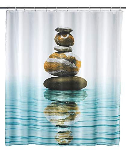 WENKO 20961100 Duschvorhang Meditation, waschbar, mit 12 Duschvorhangringen, Polyester, 200 x 180 cm, Mehrfarbig
