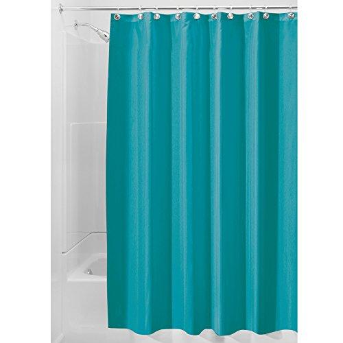 iDesign Duschvorhang aus Stoff | wasserdichter Duschvorhang mit verstärktem Saum | waschbarer Textil Duschvorhang in der Größe 183,0 cm x 183,0 cm | Polyester türkis