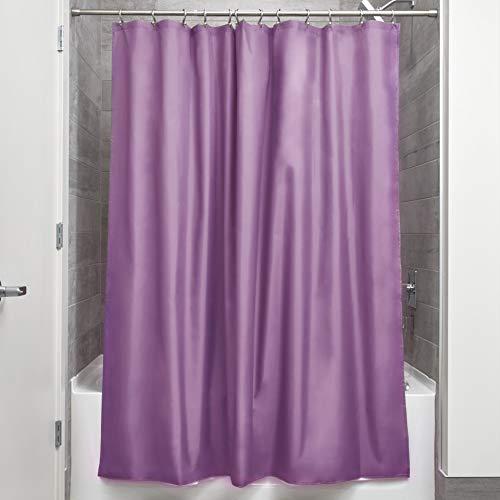iDesign Duschvorhang aus Stoff | wasserdichter Duschvorhang mit verstärktem Saum | waschbarer Textil Duschvorhang in der Größe 183,0 cm x 183,0 cm | Polyester lila