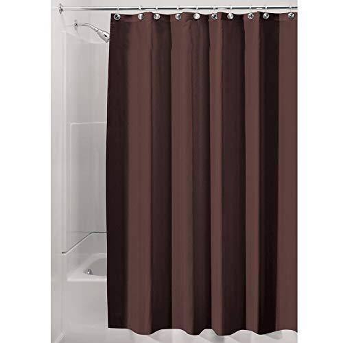 iDesign Duschvorhang aus Stoff, waschbarer Badewannenvorhang aus Polyester in der Größe 180,0 cm x 200,0 cm, wasserdichter Vorhang mit verstärktem Saum, braun