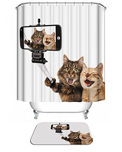 Topmail 3D Digitaldruck Polyester Duschvorhänge Anti-Schimmel Wasserdicht Mildewproof Badvorhang mit 12 Stück C-Haken für Badzimmer (Katzen)