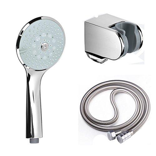 Handbrause mit Schlauch und Halterung, Duschkopf Hochdruck-Wasser-Einsparung 6 Strahlarten ABS / Brauseschlauch 2m Edelstahl / Brausehalter Verstellbar ABS