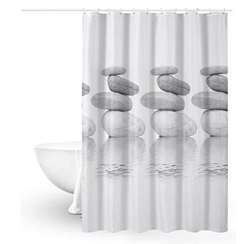 Queta Duschvorhang Anti-Schimmel, Duschvorhang 120x180 Grau Pebble Wasserdichter Shower Curtain mit 12 Duschvorhangringen