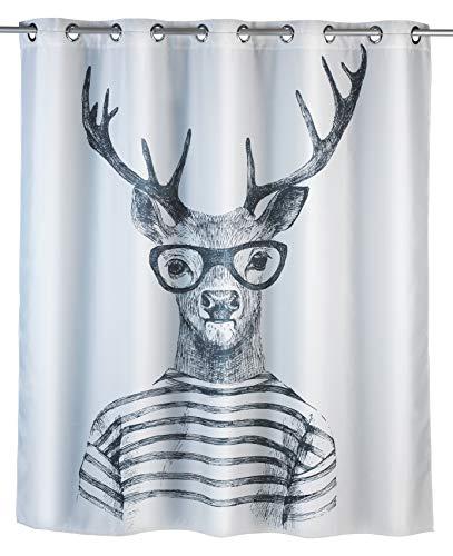 Wenko Anti-Schimmel Duschvorhang Mr.Deer Flex, Textil-Vorhang mit Antischimmel Effekt, große integrierte Ringe zur Befestigung an der Duschstange, waschbar,wasserabweisend, 180 x 200 cm