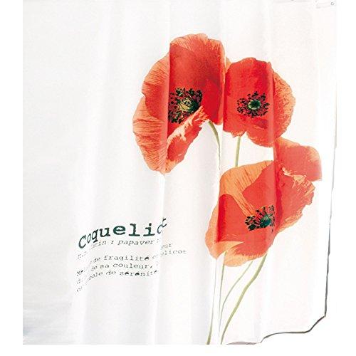 Sanixa PA80171 Duschvorhang Textil | 180x200 cm | Mohn-Blume | wasserabweisend | Anti-Schimmel | waschbar | hochwertige Qualität mit Ringen | Bad