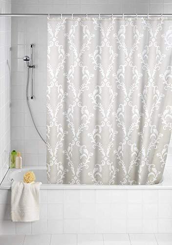 Wenko 20048100 Anti-Schimmel Duschvorhang Baroque - Anti-Bakteriell, waschbar, mit 12 Duschvorhangringen, 100 % Polyester, beige