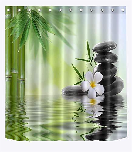 LB Spa Zen Duschvorhang, Schwarze Steine, Weiße Orchideen, Bambus-Wasserbadvorhang 150 x 180 cm, wasserdichtes Anti-Schimmel-Polyestergewebe mit Haken
