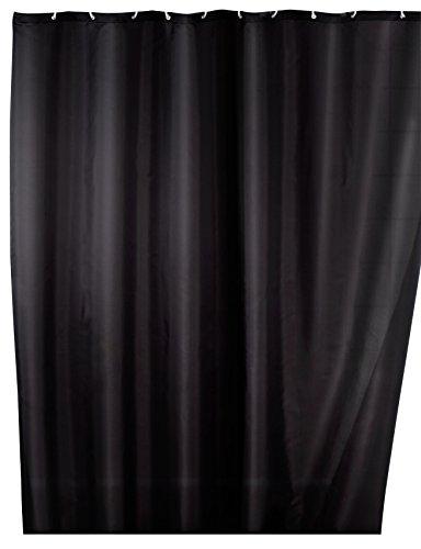 Wenko 20043100 Anti-Schimmel Duschvorhang Uni Black - Anti-Bakteriell, waschbar, mit 12 Duschvorhangringen, Polyester, 200 x 180 cm