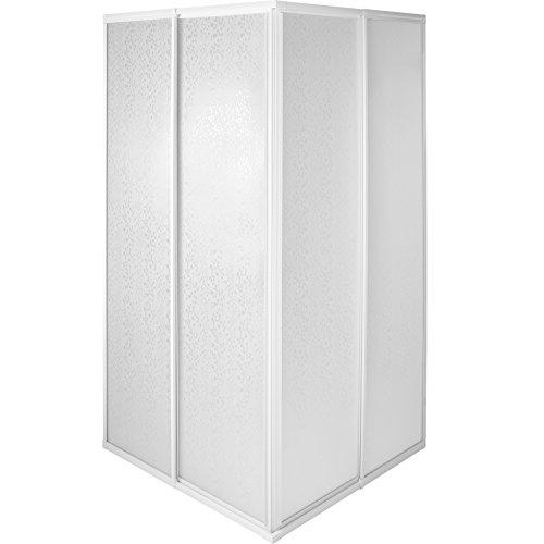TecTake Duschkabine Duschabtrennung Eckeinstieg | Rostfreier Aluminiumrahmen | 2 Schiebetüren aus Kunststoff - verschiedene Größen (80x80x185cm | Nr. 402752)