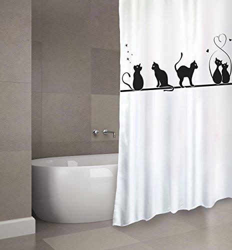 """Cotexsa by MSV Premium Anti-Schimmel Textil Duschvorhang - Anti-Bakteriell, waschbar, 100% wasserdicht, mit 12 Duschvorhangringen - Polyester, """"Katze"""" 180x200cm – Made in Spain"""