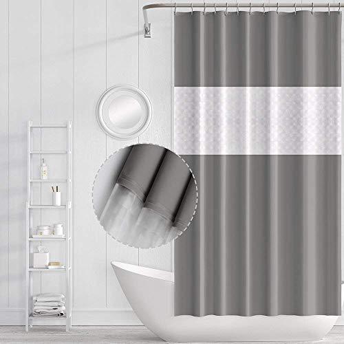 Funria Wasserdicht Duschvorhang Mehltau Beständiges Antibakterielles Badezimmer Vorhänge Badezimmer Duschvorhänge mit Haken, Größe 70 x 78 Zoll (Gespleißtes Grau)