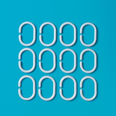 MSV 14028612Stück Ringe für Duschvorhang Kunststoff + Polypropylen weiß 6x 0,4x 4cm