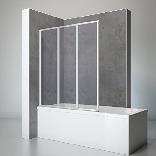 Schulte Duschwand Well, 127 x 140 cm, 3-teilig faltbar, Kunstglas Tropfen-Dekor, alu-natur, Duschabtrennung für Wanne