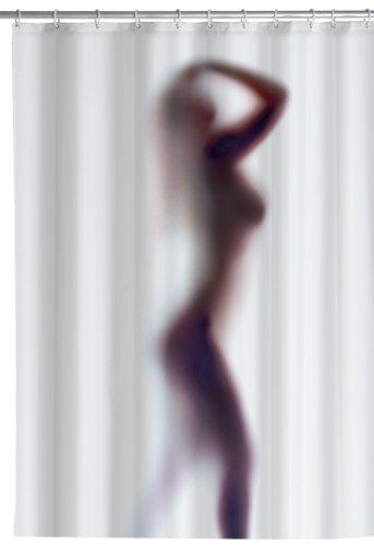 Wenko 8199100 Anti-Schimmel Duschvorhang Silhouette - Anti-Bakteriell, waschbar, 100 % Polyester, weiß