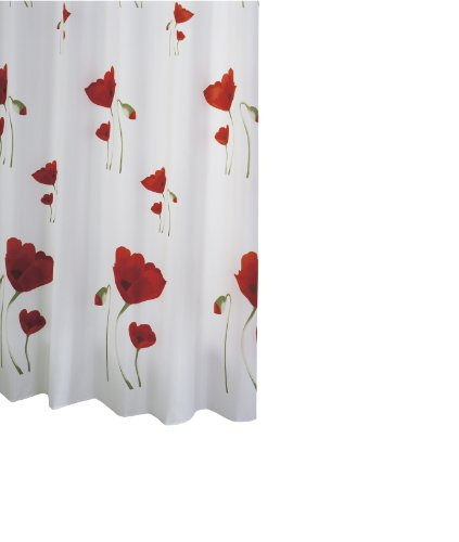 RIDDER 47800-350 Duschvorhang Textil ca. 180 x 200 cm, Mohn inklusive Ringe