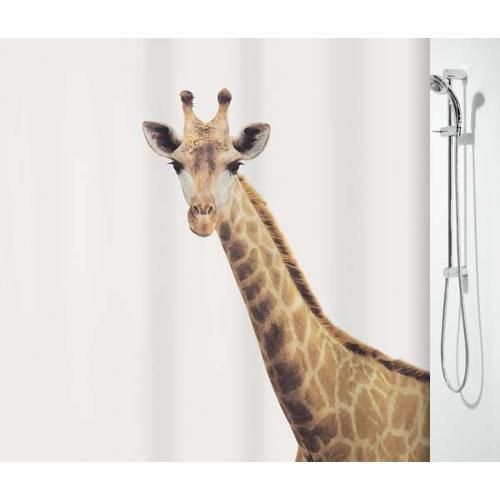 "Spirella Anti-Schimmel Duschvorhang ""Giraffe Savana"" Anti-Bakteriell, waschbar, wasserdicht Polyester 180x200cm"