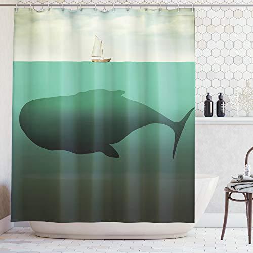 Abakuhaus Duschvorhang, Riesiger Wal in der Mitte des Meeres und Ein Kleiner Segelboot auf der Oberfläche als Druck, Blickdicht aus Stoff inkl. 12 Ringe für Das Badezimmer Waschbar, 175 X 200 cm