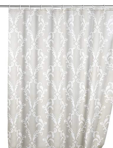 WENKO Anti-Schimmel Duschvorhang Baroque, Duschvorhang mit Antischimmel Effekt fürs Badezimmer, inkl. Ringen zur Befestigung an der Duschstange, waschbar, 100% Polyester, 180 x 200 cm, beige/weiß
