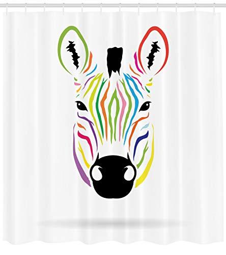 Abakuhaus Duschvorhang, Bunter Exotischer Zebra Abstrakter Grafik Simple Minimalistischer Regenbogenfarben Bunt Druck, Blickdicht aus Stoff inkl. 12 Ringen Umweltfreundlich Waschbar, 175 X 200 cm