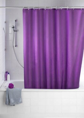 WENKO 20035100 Anti-Schimmel Duschvorhang Uni Purple - Anti-Bakteriell, waschbar, mit 12 Duschvorhangringen, 100 % Polyester, Lila