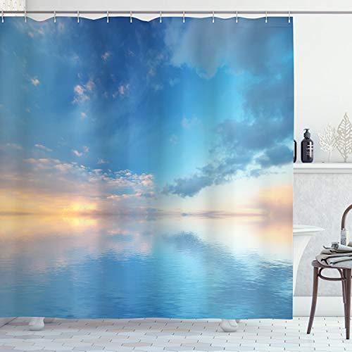 ABAKUHAUS Natur Duschvorhang, Ozean Horizont Wolken Himmel, Moderner Digitaldruck mit 12 Haken auf Stoff Wasser und Bakterie Resistent, 175 x 200 cm, Blau