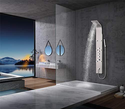 Elbe Duschpaneel Edelstahl mit Thermostat, 6xMassagedüsen, Regendusche, Wasserfall und Handbrause, Duschsystem aus gebürstetes Edelstahl, für Wellness, Luxus und Duschvergnügen im eigenen Bad
