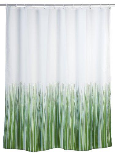 WENKO 20060100 Anti-Schimmel Duschvorhang Nature - Anti-Bakteriell, waschbar, mit 12 Duschvorhangringen, 100 % Polyester, Weiß