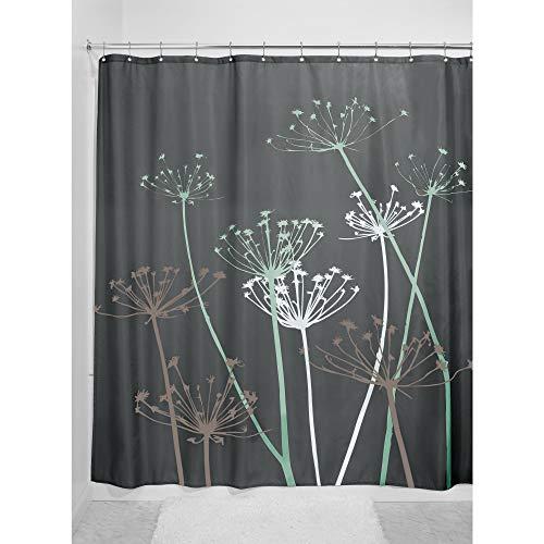 iDesign Thistle Duschvorhang   183,0 cm x 183,0 cm großer Badewannenvorhang   waschbarer Duschvorhang aus weichem Stoff   mit Blumen-Motiv   Polyester grau/mint