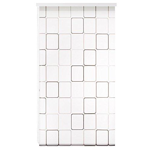 casa pura Design Duschrollo Retro Muster | viele Größen | schnelltrocknend | Deckenbefestigung mit Halbkassette | halbtransparent, Retro Muster | 140x240cm (BxL)