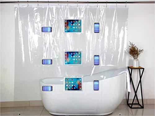 DEEP DWELL Shower Connect Duschvorhang für Smartphone, Tablet und EBOOK-Reader, Mit 9 Taschen, Transparent, 183x190cm, Anti-Schimmel, Anti-Bakteriell, mit 12 Haken