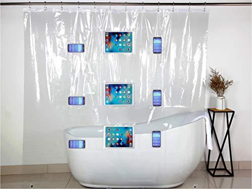 SHOWER CONNECT Duschvorhang für SMARTPHONE, TABLET und EBOOK-READER, Wasserdichter Badvorhang mit 9 Taschen, Transparent, 183x190cm, Umweltfreundlich, Anti-Schimmel, Anti-Bakteriell, mit 12 Haken