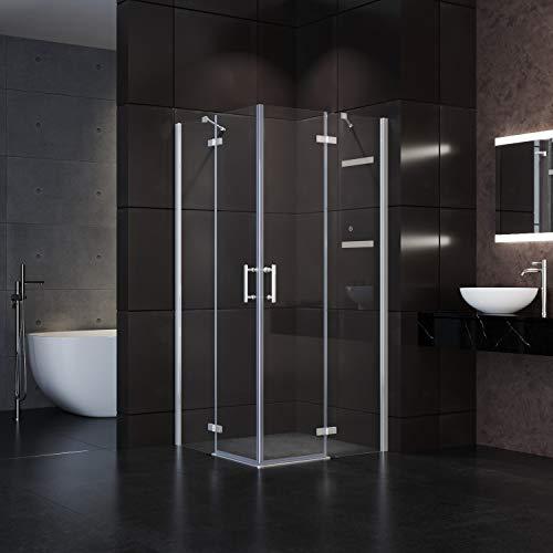 90x90x195cm Duschkabine Eckeinstieg 6 mm ESG-Glas Duschabtrennung mit Pendeltüren
