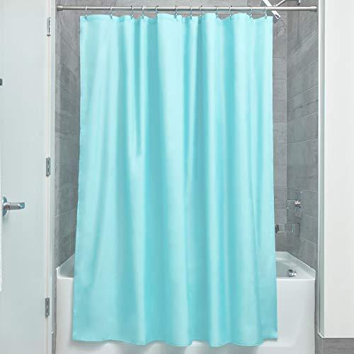 iDesign Duschvorhang aus Stoff | wasserdichter Duschvorhang mit verstärktem Saum | waschbarer Textil Duschvorhang in der Größe 183,0 cm x 183,0 cm | Polyester mint