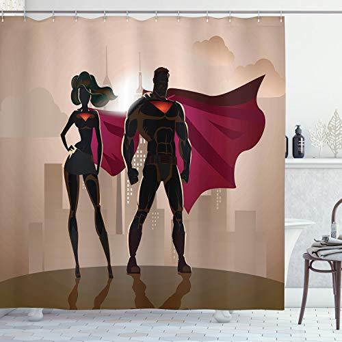 ABAKUHAUS Duschvorhang, Superheld Comic Superfrau und Mann Helden in der Stadt im Kostüm Kinderfreundliches Druck, Wasser und Blickdicht aus Stoff mit 12 Ringen Bakterie Resistent, 175 X 200 cm