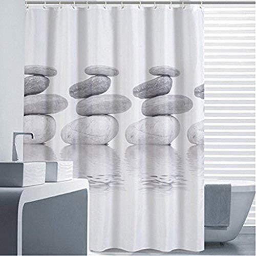 Goldbeing Duschvorhang 180x180 Textil Grau Pebble Schimmelresistenter und Wasserabweisend Shower Curtain mit 12 Duschvorhangringen (180*180cm)