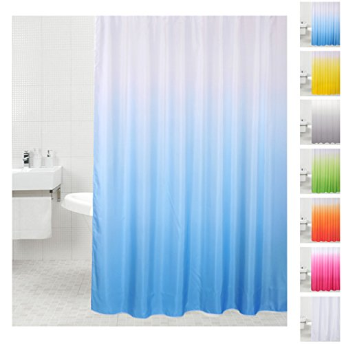 Sanilo Duschvorhang, viele einfarbige Duschvorhänge zur Auswahl, hochwertige Qualität, inkl. 12 Ringe, wasserdicht, Anti-Schimmel-Effekt (180 x 180 cm, Blau)