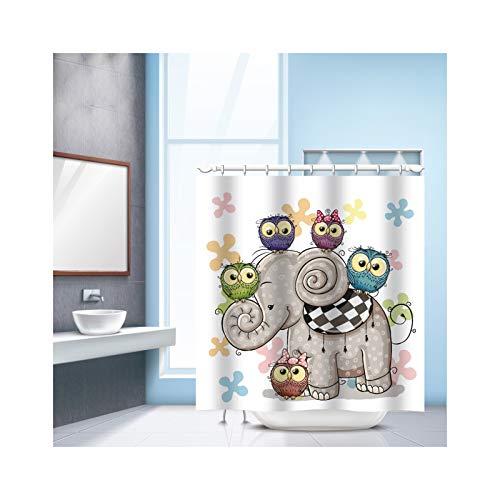 SonMo Duschvorhang Karikatur Elefant Polyester Mehrfarbig Digitaldruck Wasserdicht Anti-Schimmel Anti-Bakteriellbadewanne Vorhang mit Duschvorhangringen 240×180CM