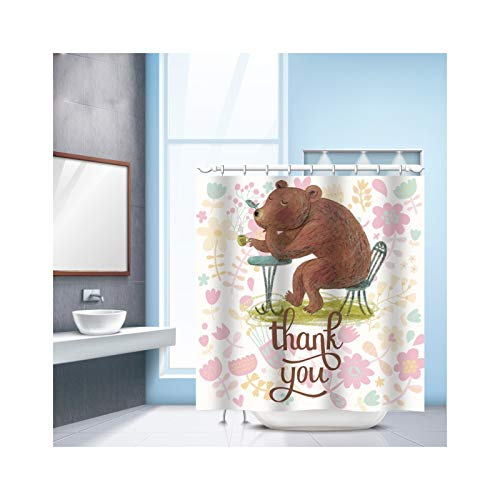 SonMo Duschvorhang Hase Karikatur Polyester Mehrfarbig Digitaldruck Anti-Bakteriell Anti-Schimmel Wasserdichtbad Vorhang für Badezimmer Badewanne mit Duschvorhangringen 240×180CM