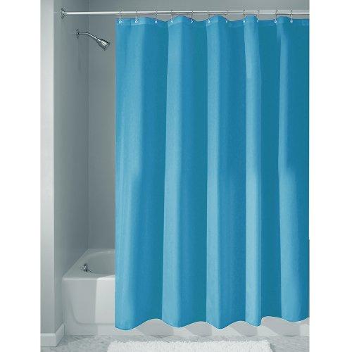 iDesign Duschvorhang aus Stoff | wasserdichter Duschvorhang mit verstärktem Saum | waschbarer Textil Duschvorhang in der Größe 183,0 cm x 183,0 cm | Polyester azurblau