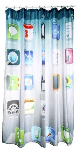 Moderner Duschvorhang kultiges App - Design 1,80m x 1,80m Badutensilie schicke Dekoration