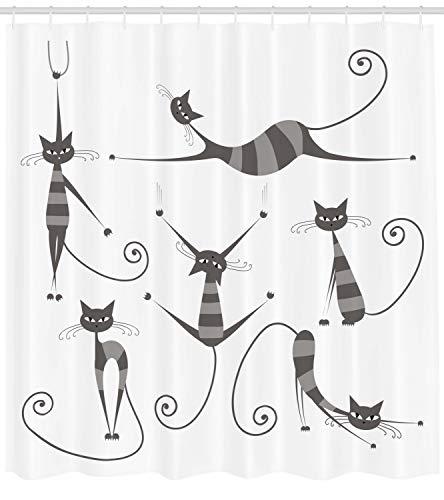 Abakuhaus Duschvorhang, Katzen in Pariser Stiel Französische Moderne Kunst Design Muster Print Druck Schwarz Weiß, Wasser und Blickdicht aus Stoff mit 12 Ringen Bakterie Resistent, 175 X 200 cm