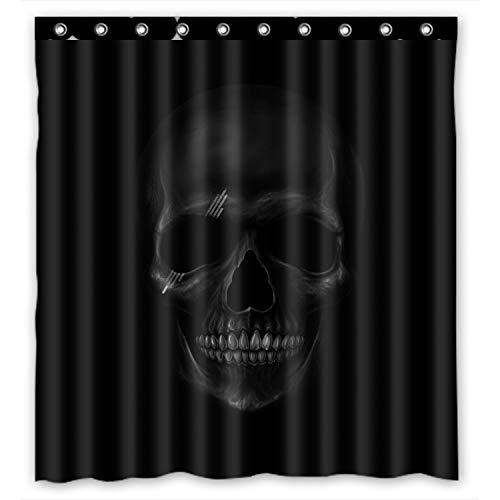 """Personalisierte Cool und Horror Totenkopf-Design, dunkel, 100% Polyester, wasserdicht Duschvorhang, Textil 152.40 cm x 182.88 cm """", mit Ringen"""