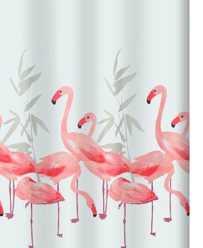 """Spirella Anti-Schimmel Duschvorhang """"Flamingo"""" Anti-Bakteriell, waschbar, wasserdicht Polyester 180x200cm"""