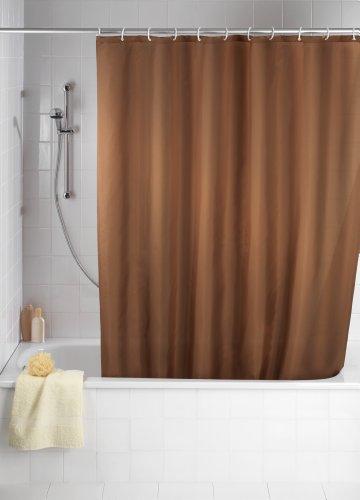WENKO 20036100 Anti-Schimmel Duschvorhang Uni Chocolate - Anti-Bakteriell, waschbar, mit 12 Duschvorhangringen, 100 % Polyester, Braun