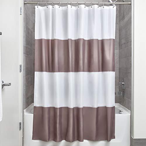 iDesign Zeno Duschvorhang Textil | wasserdichter Duschvorhang mit Streifen | waschbarer Duschvorhang in der Größe 183,0 cm x 183,0 cm | Polyester dunkeltaupe/weiß