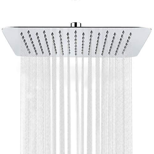Regendusche Duschkopf Einbauduschköpfe Kopfbrause Regenbrause Edelstahl mit Anti-Kalk-Düsen Duschkopf Wasserfall Regenduschkopf QinYun 30cm 12 Zoll- Quadratisch